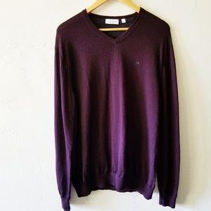 Calvin Klein 100% Merino Wool V-neck Sweater XL